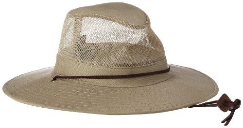 53574bd4744 Dorfman Pacific Men s 1 Piece Brushed Twill Mesh Safari Hat With Genuine  Leather Trim