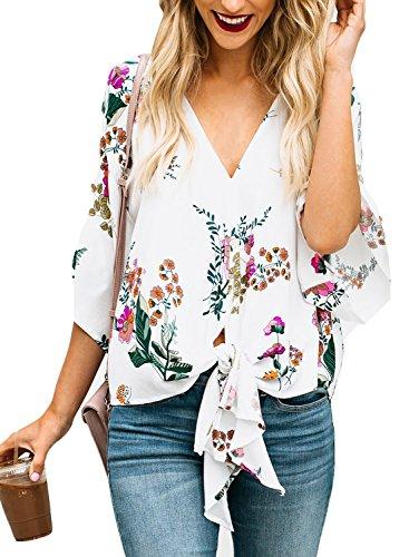 407df1d7334 LOSRLY Women Floral Printed Tie Front V Neck Short Sleeve Tops Summer  Blouses