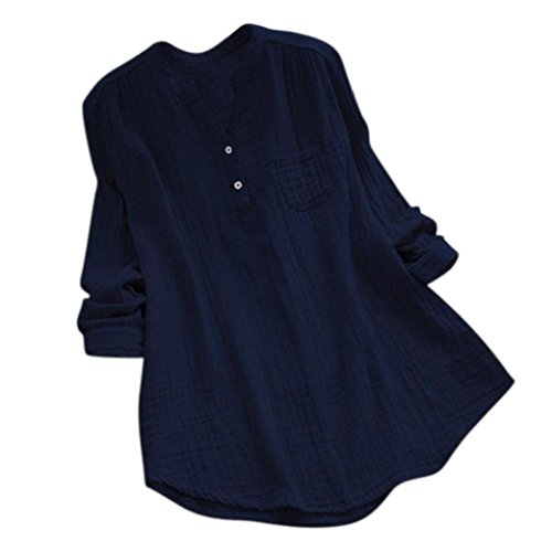 a648d50bd Summer Tops Shirts,Women Casual Loose T-Shirt Plus Size Long Sleeve Blouse  Cotton Linen Tops Tee On sale Collar-Navy, 4XL/US 20