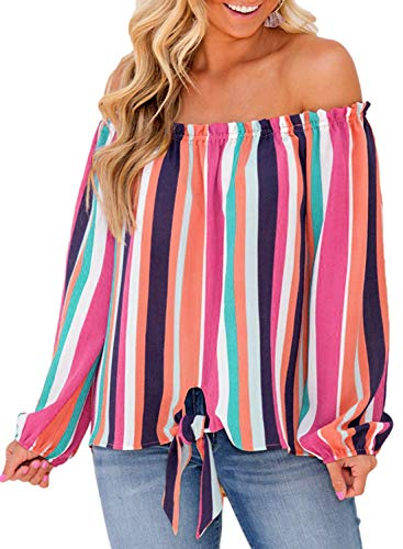43e62c853 Asvivid Womens Striped Off The Shoulder Long Sleeve Chiffon Shirt Color  Block Tie Knot Loose Blouses Tee Tops L Multicoloured6