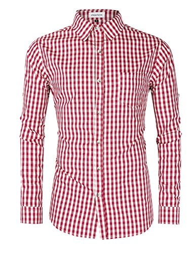 Clearlove Men s Casual Slim Fit Plaid Shirt Button Down Dress Shirts for  German Bavarian Oktoberfest Red M e0c9b6e74eaf