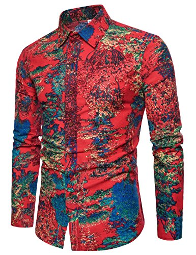 a5c7ff09569 COOFANDY Men s Long Sleeve World Map Printed Casual Button Down ...