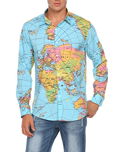 c98dd496df5 COOFANDY Men s Long Sleeve World Map Printed Casual Button Down Dress Shirt  For Party