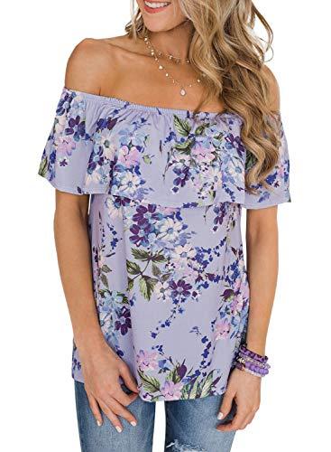 901c4418370 Asvivid Womens Boho Floral Printed Off The Shoulder T-Shirts Flounce Ruffle  Sleeve Work Office Club Tops L Purple